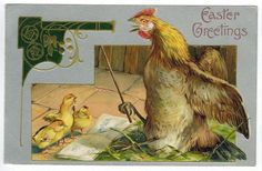 Antique Easter Fantasy Humanized Rooster Teaches Chicks DB Emb 1908 Winch | eBay