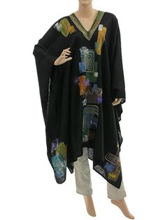 Boho artsy wide linen poncho overtop vneck, abstract black S-XXXL - Artikeldetailansicht - CLASSYDRESS Lagenlook Art to Wear Women's Clothing