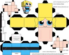 As requested by my daughter, I made cubees of the Powerpuff Girls. Powerpuff Girls belong to Craig McCracken. Cubee template by Christopher Beaumont. 3d Paper Crafts, Paper Toys, Powerpuff Girls, Paper Doll Template, Jean Leon, Marker Paper, Ariel The Little Mermaid, Paper Models, Diy Toys