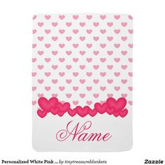 Personalized White Pink Heart Baby Girl Blanket Baby Blankets