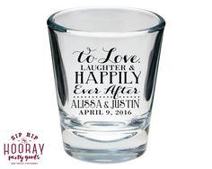 Wedding Shot Glasses Wedding Favors Love Laughter by SipHipHooray