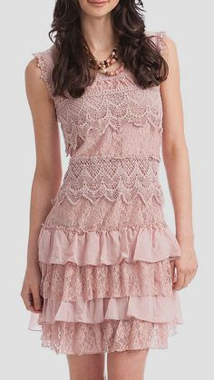 """Rose Smoke Lace Tiered Sleeveless Dress - Look for a """"mother of the bride"""" dress for this one or buy lace trim in different patterns at less than $1, add to a basic sheath."""