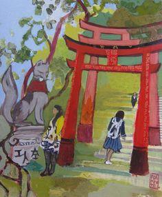 Fushimi Inari shrine 24cm x 30cm 2015 acrylics on paper