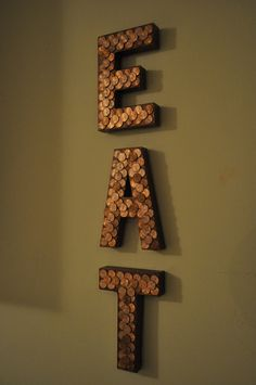 Copper Paper Mache LettersEAT by lorenhagearty on Etsy, $24.00  Could do with sticks.
