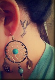 behind the ear antler tattoo - Google Search