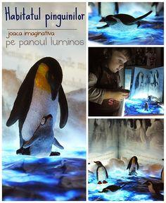 Penguins Imaginative play on the Light Panel - Habitatul pinguinilor - joaca imaginativa pe panoul luminos - Clipe Frumoase cu Ema Polar Animals, Light Panel, Shadow Play, Sensory Play, Small World, Light And Shadow, Penguins, Imaginative Play, Reggio