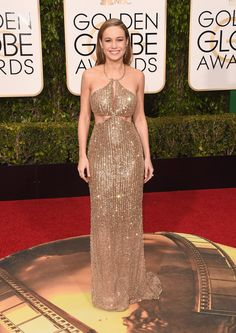 Pin for Later: 15 Photos That Prove Brie Larson's Style Is Award-Worthy  At the 2016 Golden Globes, Brie sparkled in a gold cutout Calvin Klein dress.