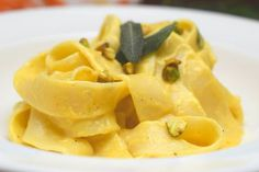 Pumpkin Sage Cream Sauce with Pappardelle.  With Fall upon us the flavors of pumpkin and sage will warm you up inside.