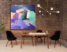 Oversized abstract painting on canvas, Palette Knife Painting, large square canvas art, blue, grey, green, orange, purple, violet, etc.