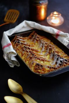 John's Waffle Pudding flavoured with ginger, orange, whisky and white chocolate - bread and butter pudding - christmas pudding alternative