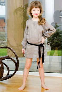 Grey Linen Tunic Dress  Sweet tunic for stylish girl for everyday or special occasion. It has a button on the back for easy dressing. Finished with fashionable braided twine belt.     100% Linen