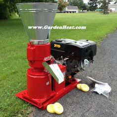 A great starter pellet press with plenty of power. This is the 13 hp Gas Pellet Mill from www.GardenHeat.com
