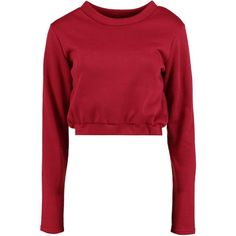 Boohoo Esme Basic Crop Sweatshirt | Boohoo (500 PHP) ❤ liked on Polyvore featuring tops, hoodies, sweatshirts, red jersey, cropped tops, cami crop top, off the shoulder tops and bralette crop top