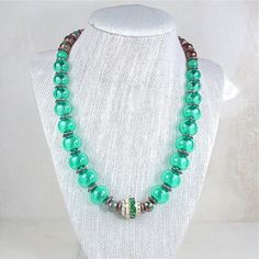 Hollow Light Teal Beaded Lampwork Necklace with Beautiful Handmade Focal and Bronze accents on Etsy, $120.00