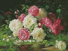 Still life with Roses 3 - cross stitch pattern designed by Tereena Clarke. Category: Roses.