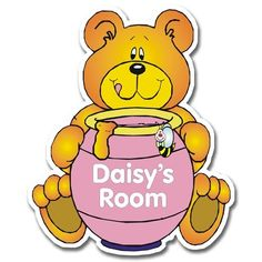 Personalised Wooden Honey Bear Door Plate - Pink  from Personalised Gifts Shop - ONLY £12.99