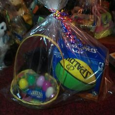 Basket with black soft bear Spalding basketball Basket with eggs candy toys and a Spalding basket ball black stuffed bear Other