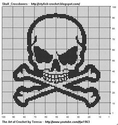 Free Filet Crochet Charts and Patterns: Filet Crochet Skull & Crossbones