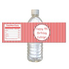 Printable Personalized Movie Red Stripes Water Bottle Labels Wrappers - Birthday Party Favors Baby Shower Items Birthday Favors Party Items