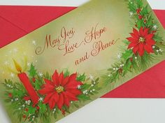 Candle and Poinsettias Holiday Card Vintage UNUSED by bythewayside, $4.00