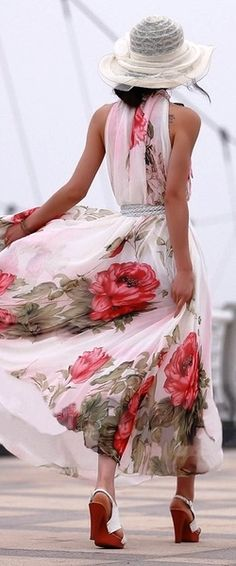 Bohemian Style Halter Neck Large Floral Print Chiffon Maxi Dress For Women Maxi Floral, Floral Dresses, Floral Sundress, Floral Chiffon, Summer Dresses 2014, White Dress Summer, Summer Sundresses, Summer Maxi, Summer Outfit