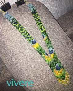 Готовый гердан с павлиньими перьями (бисер Preciosa), комбинировала из двух полуготовых схем из интернета