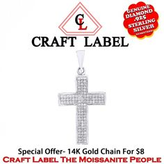 "1/3 Ct Brilliant Cut White Genuine Diamond 14K Gold Cross Pendant Without Chain ""Mother\'s Day Gift"". Starting at $107"