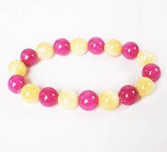 Bicolors  Purple Light Yellow Chinese Jade Gems Prayer Mala Beads Bracelet WZ32
