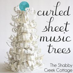 curled sheet music trees - DIY