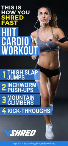 HIIT cardio workout is one of the best training you can do to shred fast. It is a perfect exercise for burning fat and boosting your endurance. It also helps tone your body all over and help build strength and speed. Sixpack Training, Cardio Training, Weight Training, Strength Training, Weight Lifting, Weight Loss Tips, Hitt Workout, Leg Workouts, Workout List