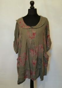 New-LaGeNLooK-QUIRKY-Italian-floral-LINEN-ARTIST-COLLAR-Pocket-Tunic-Top-42