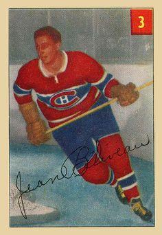 1954-55 Parkies #3 Jean Béliveau Montreal Canadiens, Hockey Cards, Baseball Cards, Hockey Players, Ice Hockey, Nhl, Sports, Vintage, City