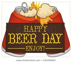 Delicious Toast Canned Beers Wooden Greeting Stock Vector (Royalty Free) 1152185855 Beer Day, Toast, Royalty Free Stock Photos, Sign, Signs, Board