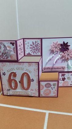 Heute möchte ich Euch noch Grußkarten und eine Verpackung zeigen, die im vergangenen Monat entstanden sind. Zuerst seht Ihr eine Pop-up-Karte zum 60. Geburtstag. Hier habe ich die Karte in der Farbe himbeerrot kombiniert mit kirschblüte gewählt.