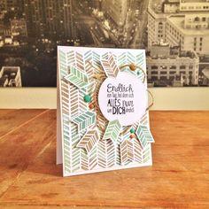 "Arrows B'day Card. Cardstock: Folia, SU; stamps: SU (""Handcarved"" Background; ""Petal Parade"", ""Really Good Greetings/Alles nur Sprüche""); ink & embossing powder: SU; twine & enamel dots from my stash."