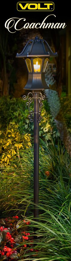 Standing tall, this estate-size coach light has a patented design with surprising features. There is no other luminaire like this on the market. Coach Lights, Pathway Lighting, Concrete Garden, Outdoor Landscaping, Led Lamp, Pathways, Light Up, Lanterns