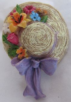 Decorative RESIN PIN BROOCH: 'BONNET' HAT w FLOWERS & RIBBON on Brim (Molded) & PIN-BACK CLASP