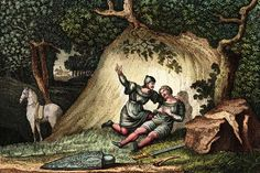 Hand-tinted engraving illustrating the death of Roland at Roncesvalles