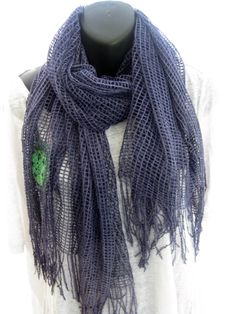 Up-cycled long hand dyed mesh lacy scarf, blue artsy lightweight shawl, boho hippie scarf, lagenlook open weave funky wrap, extra long scarf by thelavenderpear on Etsy