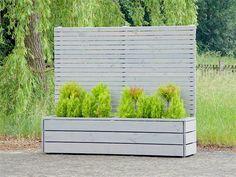 Sichtschutz mit Pflanzkübel / Blumenkasten Holz, Grau Geölt
