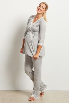 a10c9f6fd63 Grey Lace Trim Maternity Pajama Pants