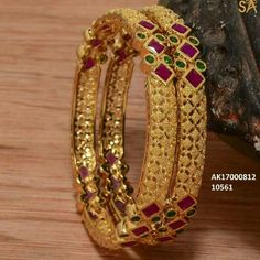 To order plz WhatsApp me to 91 7730891805 Gold Bangles Design, Gold Jewellery Design, Gold Jewelry, Ruby Bangles, Bangle Bracelets, Gold Pendent, Jewelry Patterns, Indian Jewelry, Antique