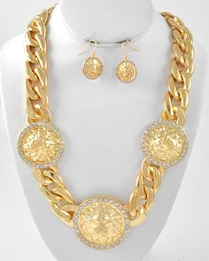 GOLD CHUNKY Lion Head Trio Necklace and Earring by RICHGIRLZROCK, $36.00