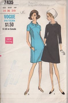 MOMSPatterns Vintage Sewing Patterns - Vogue 7435 Vintage 60's Sewing Pattern OUT OF THIS WORLD Mod Space Age Curved Yoke, Stand Away Nehru Collar Twiggy Dress
