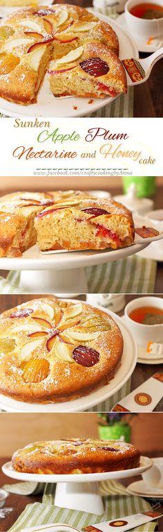 Sunken Apple, Plum, Nectarine and Honey cake! #delicious #fruity @ www.facebook.com/craftycookingbyAnna