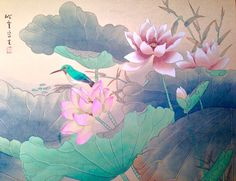 VINTAGE LOTUS Flower HAND PAINTED Watercolor PAINTING on SILK Chinese SIGNED BIG #ChineseArtist
