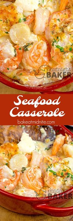 If you love shrimp and scallops, you'll love this seafood casserole. Easy to. If you love shrimp and scallops, you'll love this seafood casserole. Easy to. Seafood Casserole Recipes, Seafood Bake, Seafood Appetizers, Seafood Dinner, Casserole Dishes, Casserole Ideas, Seafood Lasagna, Simple Appetizers, Seafood Pasta