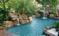 Awesome Rock Swimming Pool  | These rock features are made by a company called Rico Rock. Way ...
