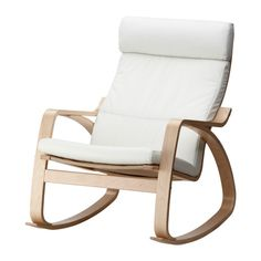 POÄNG Rocking chair from IKEA. I like white for 2 reasons, it's volume almost disappears in a small space & neutral colors let me add color with a throw or pillow.