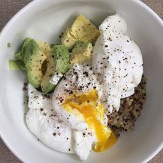 Poached eggs are my jam!! With avocado and quinoa.
